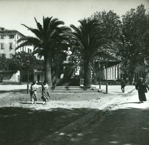 France Corse Ile Rousse Place Paoli ancienne photo stereo Amateur 1920