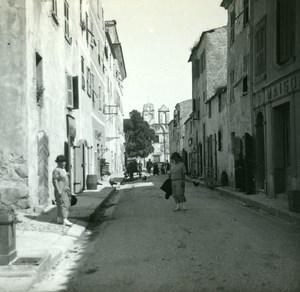 France Corse Ile Rousse Rue de la Gare ancienne photo stereo Amateur 1920