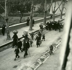 France Corse Calacuccia Construction d une Maison Participants ancienne photo stereo Amateur 1920