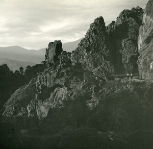 France Corse Calanques de Piana la Sentinelle ancienne photo stereo Amateur 1920