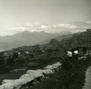 France Corse Col de Lavo Panorama ancienne photo stereo Amateur 1920