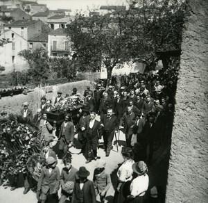 France Corse Cargese Enterrement du Medecin ancienne photo stereo Amateur 1920