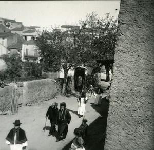 France Corse Cargese Enterrement du Medecin Archimandrite Grec ancienne photo stereo Amateur 1920