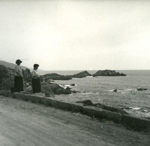 France Corse Sagone au bord du golfe ancienne photo stereo Amateur 1920