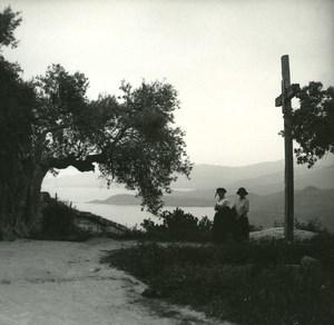 France Corse Calcatoggio panorama ancienne photo stereo Amateur 1920