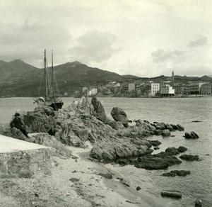 France Corse Propriano & golfe de Valinco ancienne photo stereo Amateur 1920