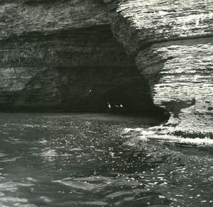 France Corse Bonifacio Grotte du Saragenato ancienne photo stereo Amateur 1920