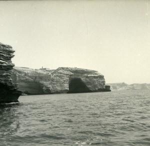France Corse Bonifacio Grotte de Saint Antoine ancienne photo stereo Amateur 1920