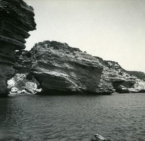 France Corse Bonifacio les Grottes ancienne photo stereo Amateur 1920