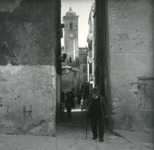 France Corse Bonifacio rue du Clocher ancienne photo stereo Amateur 1920