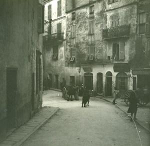 France Corse Bonifacio rue St Dominique Marchand d'eau ancienne photo stereo Amateur 1920