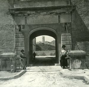 France Corse Bonifacio le Pont Levis ancienne photo stereo Amateur 1920