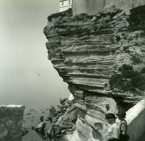 France Corse Bonifacio Surplomd de la Ville Haute ancienne photo stereo Amateur 1920