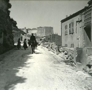France Corse Bonifacio Rampe d acces a la Ville Haute ancienne photo stereo Amateur 1920