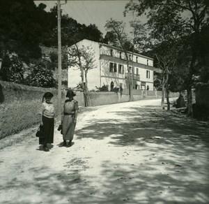 France Corse Bonifacio Hotel des Etrangers ancienne photo stereo Amateur 1920