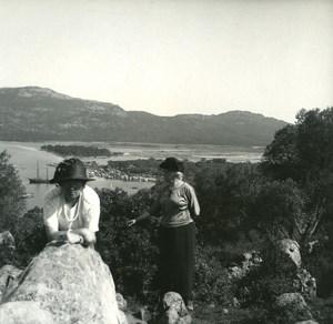 France Corse Porto Vecchio Panorama ancienne photo stereo Amateur 1920