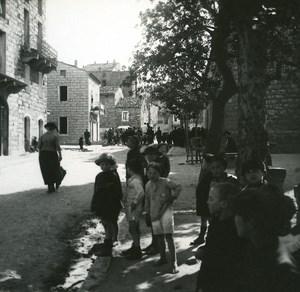 France Corse Porto Vecchio rue Principale ancienne photo stereo Amateur 1920