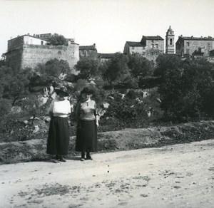 France Corse Porto Vecchio les Remparts ancienne photo stereo Amateur 1920