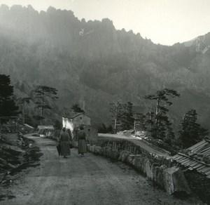 France Corse Maison Cantonniere de Bavella ancienne photo stereo Amateur 1920