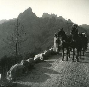 France Corse Col de Bavella ancienne photo stereo Amateur 1920