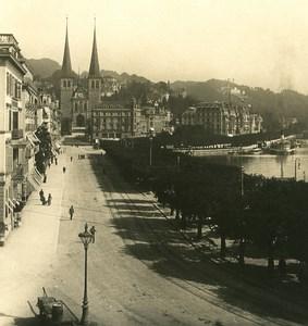 Switzerland Luzern Scweizerhofquai Old NPG Stereo Photo 1906