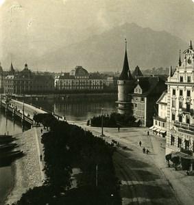 Switzerland Luzern Panorama Old NPG Stereo Photo 1906