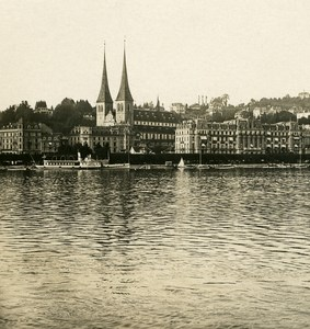 Switzerland Luzern National Warf Old NPG Stereo Photo 1906