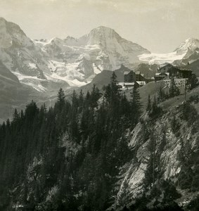 Switzerland Murren panorama Old NPG Stereo Photo 1906