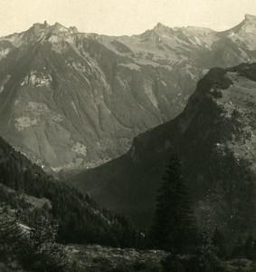 Switzerland Murren panorama Old NPG Stereo Photo 1906