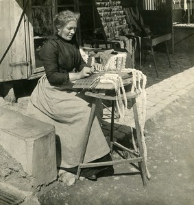 Switzerland Lauterbrunnen Lace Maker Old NPG Stereo Photo 1906