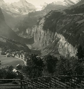 Switzerland Wengen Panorama Old Werhli Stereo Photo 1906