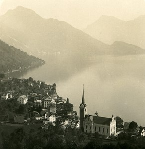 Switzerland Weggis Panorama Old NPG Stereo Photo 1906