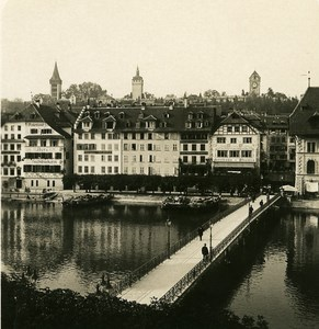 Switzerland Rathaus Wharf Figure Old NPG Stereo Photo 1906