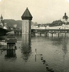 Switzerland Luzern Kappelbrucke Bridge Old NPG Stereo Photo 1906