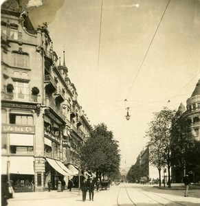 Switzerland Zurich Tramway Old NPG Stereo Photo 1906