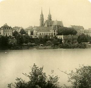Switzerland Bale panorama Old Anonymous Studio Stereo Photo 1906