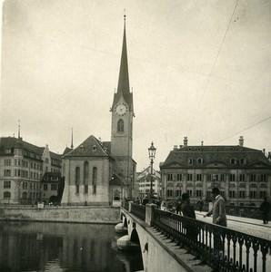 Switzerland Zurich Munster Church Old NPG Stereo Photo 1906