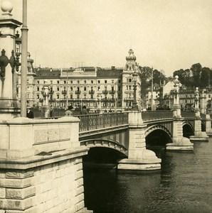 Switzerland Zurich Bridge Panorama Old NPG Stereo Photo 1906