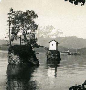 Switzerland Luzern lake Meggenhorn Old Wehrli Stereo Photo 1906