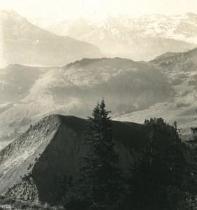 Switzerland Stanserhorn Panorama Old Wehrli Stereo Photo 1906