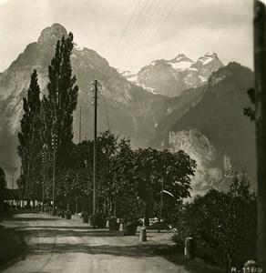 Switzerland Alps Brunnen Axen Road Old Stereo anonymous Studio Photo 1906