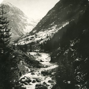 Switzerland Alps Reuss Valley Old Stereo anonymous Studio Photo 1906