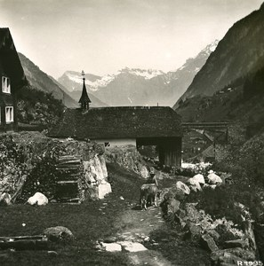Switzerland Alps Wassen Wattingen Chapel Old Stereo anonymous Studio Photo 1906