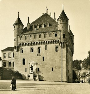 Switzerland Alps Lausanne the Castle Old NPG Stereo Photo 1906