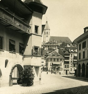 Switzerland Alps Thun Bern Canton Freienhof Hotel Church NPG Stereo Photo 1906