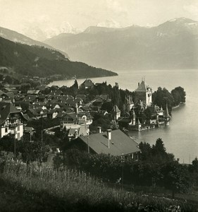 Switzerland Alps Bernese Oberland Lake Thun Old NPG Stereo Photo 1906