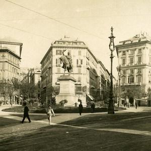 Italy Port of Genoa Place Corvetto Old NPG Stereo Photo 1903