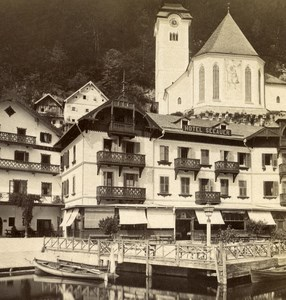 Austria Salzkammergut Hallstatt Hotel Old Wurthle Stereo Photo 1900's