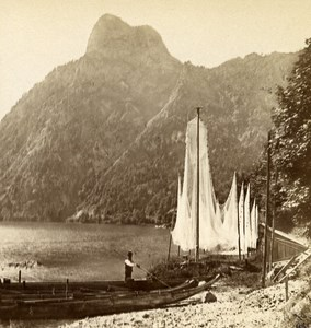Austria Salzkammergut Traunkirchen Old Wurthle Stereo Photo 1900's