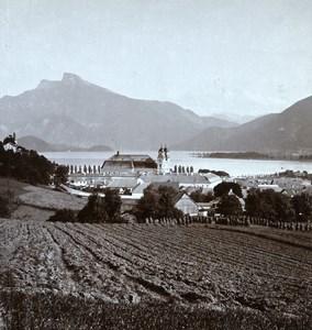 Austria Salzkammergut Mondsee Old Wurthle Stereo Photo 1900's